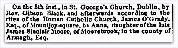 wedding announcement for Anna Moore and James O'Grady, Irish American Weekly newspaper article 10 March 1850