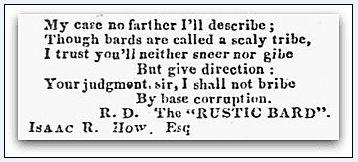"poem by the ""Rustic Bard,"" New Hampshire Patriot & State Gazette newspaper article 24 November 1828"