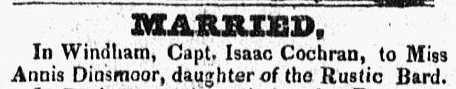 wedding notice for Isaac Cochran and Annis Dinsmoor, New Hampshire Sentinel newspaper article 23 March 1827