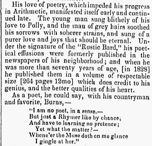 excerpt from the obituary for Robert Dinsmoor, New Hampshire Sentinel newspaper article 14 April 1836