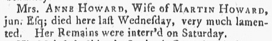 obituary for Anne Howard, Newport Mercury newspaper article 1 October 1764