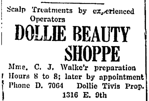 advertisement for Dollie Tivis's hair salon, People's Elevator newspaper article 7 April 1927