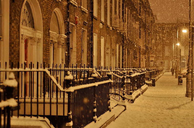 "Photo: ""The South Side of Mountjoy Square, Dublin, Ireland, in the Snow of January 2010,"" Bryan Butler"