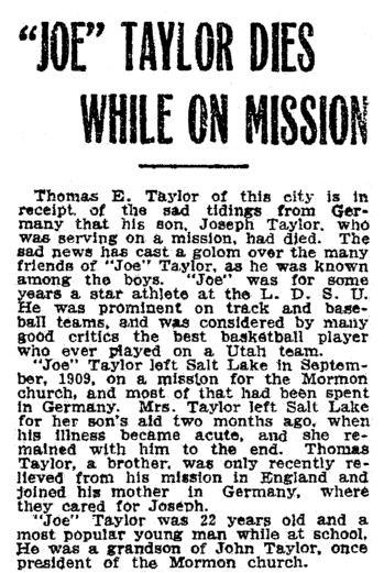 article about the death of Joseph Taylor, Salt Lake Telegram newspaper article 15 November 1910
