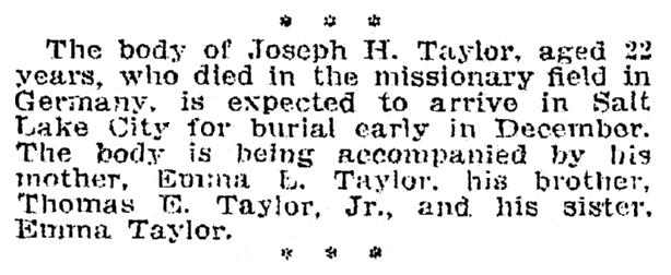 obituary for Joseph Taylor, Salt Lake Telegram newspaper article 21 November 1910
