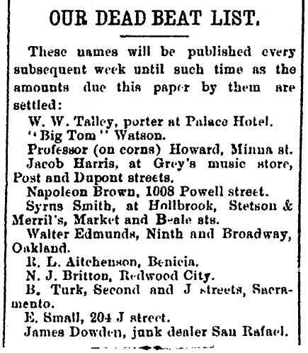 Our Dead Beat List, San Francisco Vindicator newspaper article 11 June 1887