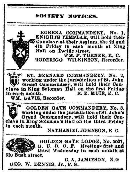 list of fraternal order societies and their meeting times, San Francisco Vindicator newspaper article 11 June 1887