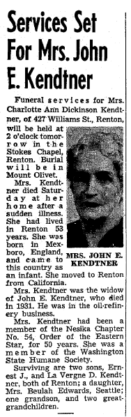 obituary for Charlotte Kendtner, Seattle Daily Times newspaper article 27 January 1953