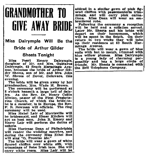 wedding notice for Pearl Dalrymple and Arthur Gilder, Trenton Evening Times newspaper article 9 June 1910d