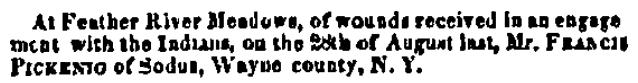 obituary for Francis Pickenig, Alta California newspaper article 31 October 1850