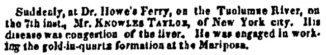obituary for Knowles Taylor, Alta California newspaper article 31 October 1850