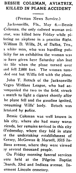 article about Bessie Coleman, Broad Ax newspaper article 8 May 1926