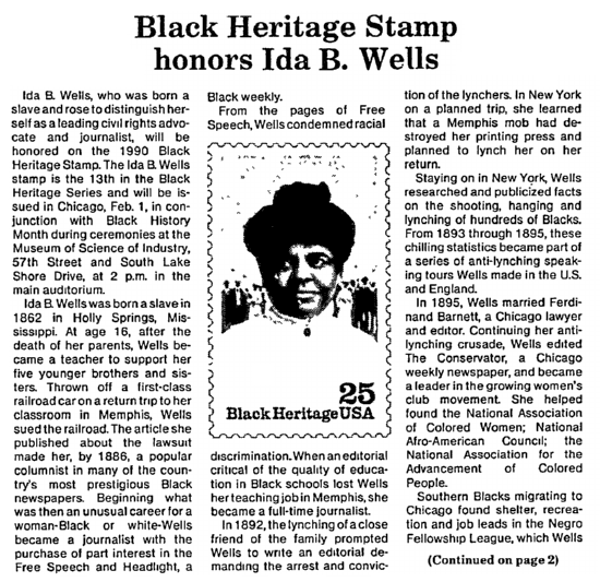 article about Ida B. Wells, Chicago Metro News newspaper article 27 January 1990