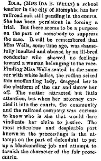 article about Ida B. Wells, Cleveland Gazette newspaper article 11 December 1886