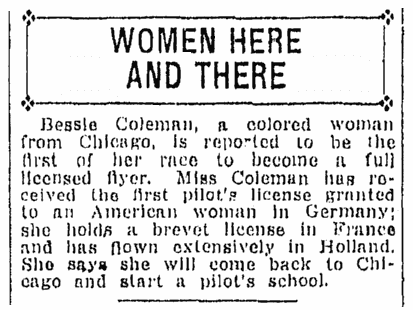 article about Bessie Coleman, Daily Illinois State Register newspaper article 18 August 1922