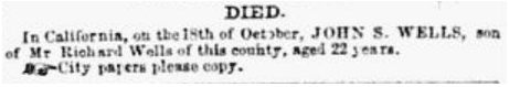obituary for John Wells, Daily Missouri Republican newspaper article 3 January 1850