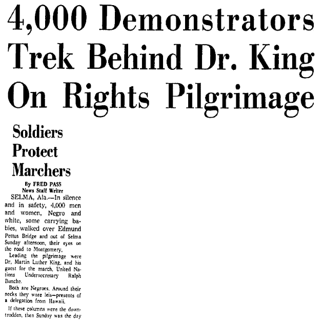 article about the Selma to Montgomery protest march, Dallas Morning News newspaper article 22 March 1965