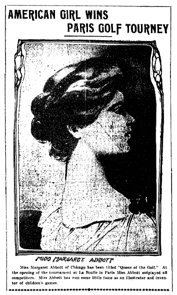 article about Margaret Abbott, Denver Rocky Mountain News newspaper article 18 June 1902