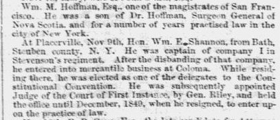 list of deaths in California, Emancipator and Republican newspaper article 26 December 1850