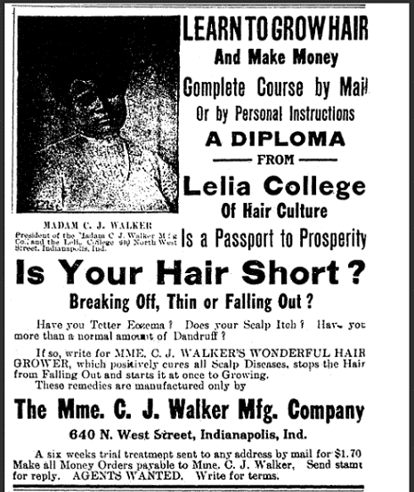 ad for Madame C. J. Walker's hair products, Freeman newspaper advertisement 18 July 1914
