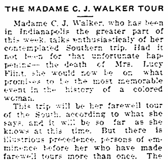 article about Madame C. J. Walker, Freeman newspaper article 26 August 1916