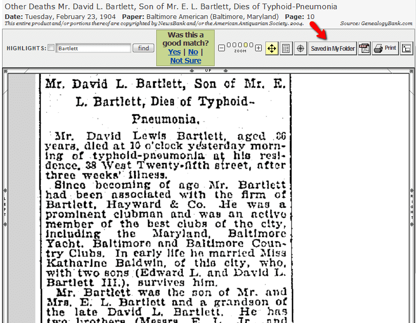 """screenshot of GenealogyBank showing the """"Save a Newspaper Article"""" feature"""