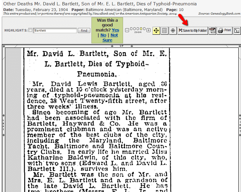 """screenshot of GenealogyBank showing the """"Save Newspaper Article"""" feature"""