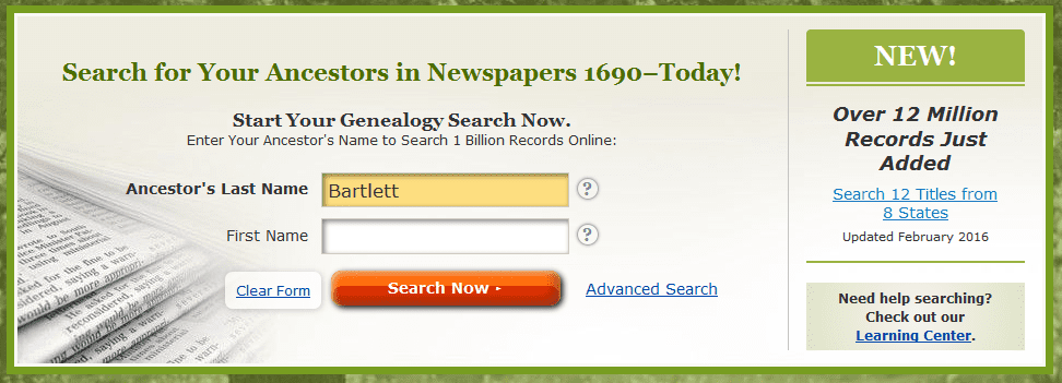 """screenshot of GenealogyBank's homepage showing a search for """"Bartlett"""""""