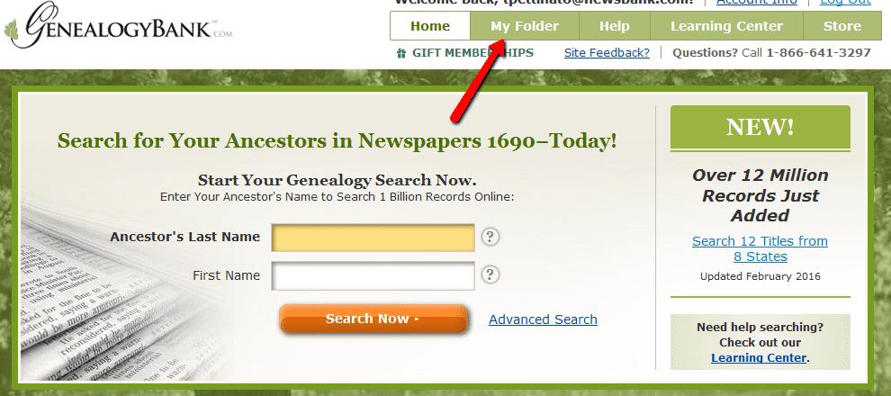 "screenshot of GenealogyBank showing the ""My Folder"" tab on the homepage"