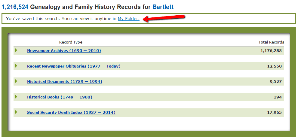 screenshot of GenealogyBank showing the feature to save a search