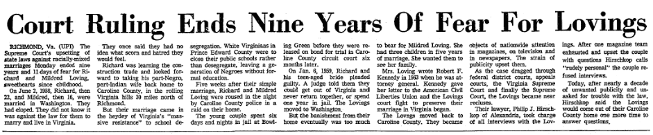 article about Richard and Mildred Loving, Greensboro Daily News newspaper article 13 June 1967