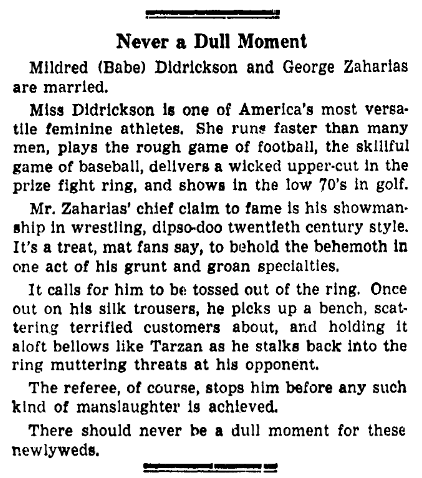 article about Babe Didrickson, Idaho Statesman newspaper article 27 December 1938