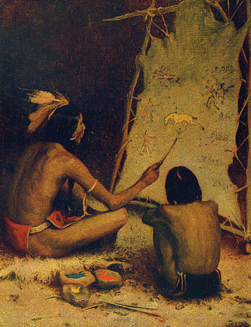 """Painting: """"The Historian"""" by E. Irving Couse"""