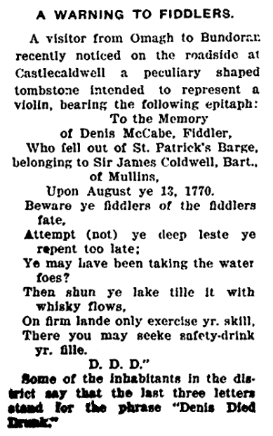 epitaph for Denis McCabe, Irish American Weekly newspaper article 23 August 1913