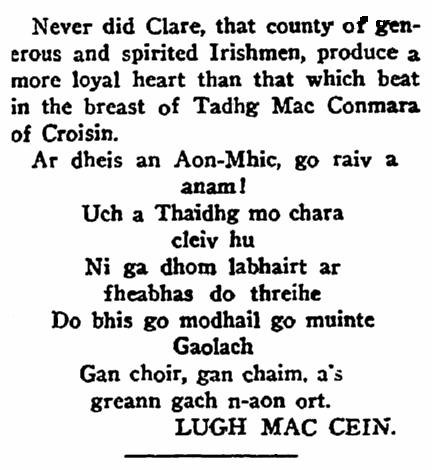 epitaph for Tadhg MacConmara, Irish American Weekly newspaper article 14 December 1912