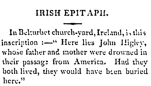 epitaph for John Higley, New-Jersey Journal newspaper article 23 December 1806