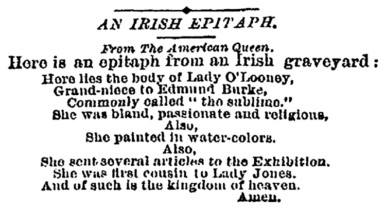 epitaph for Lady O'Looney, New York Tribune newspaper article 2 January 1885