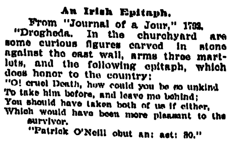 epitaph for Patrick O'Neil, Oregonian newspaper article 27 May 1899