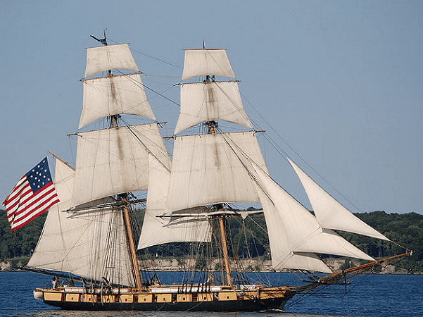 Photo: the brig Niagara under full sail, off of South Bass Island, Ohio, on Lake Erie. Credit: Lance Woodworth; Wikimedia Commons.
