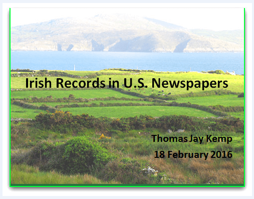 screenshot of a slide used during an Irish webinar by GenealogyBank