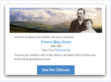 screenshot of an obituary alert from FamilySearch