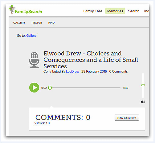 screenshot of a page on the FamilySearch website showing an audio clip from Elwood Drew