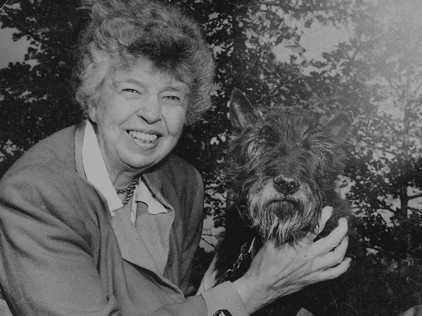 Photo: Eleanor Roosevelt and Fala in Hyde Park, New York. Credit: National Archives and Records Administration Link.