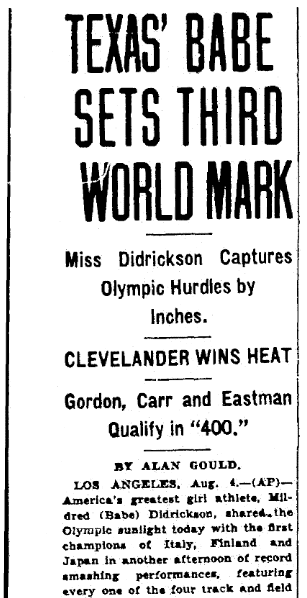 article about Babe Didrickson, Plain Dealer newspaper article 5 August 1932