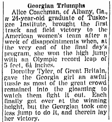 article about Alice coachman, Richmond Times Dispatch newspaper article 8 August 1948