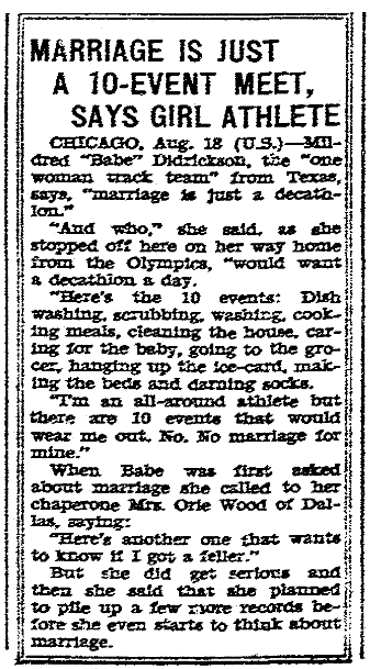 article about Babe Didrickson, San Diego Union newspaper article 19 August 1932