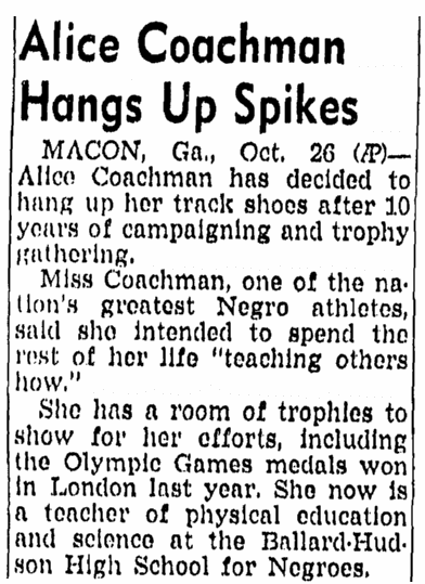 article about Alice coachman, San Diego Union newspaper article 27 October 1949