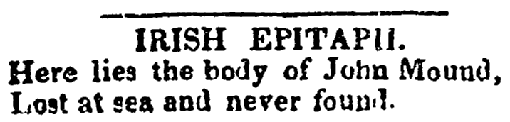 epitaph for John Mound, Saratoga Sentinel newspaper article 5 August 1828