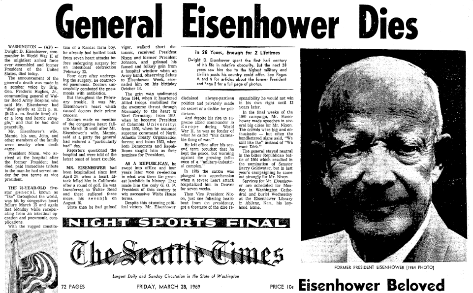 article about the death of Dwight D. Eisenhower, Seattle Daily Times newspaper article 28 March 1969