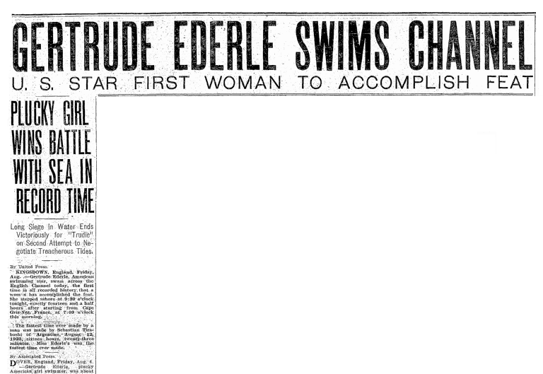article about Gertrude Ederle, Seattle Daily Times newspaper article 6 August 1926